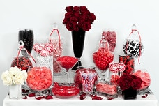Red, Black, and White Candy Buffet