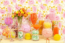 Pink, Yellow, and Green Candy Buffet