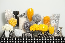 Silver, Yellow, Black, and White Candy Buffet