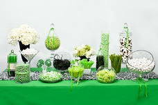 Green, White, and Black Candy Buffet