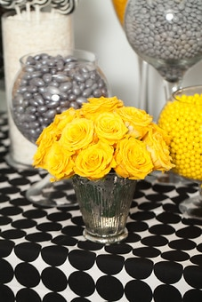 Silver Yellow Black And White Candy Buffet Candy