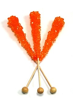 Orange Rock Candy Sticks (Unwrapped)