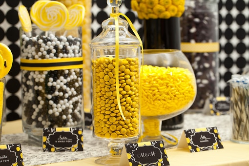 Yellow White And Black Candy Buffet Candy Buffets