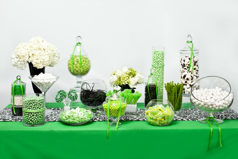 Green, White, and Black Candy Buffet — Candy Buffets — Wedding Candy ...