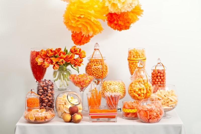 Orange Candy Buffet Buffets Wedding Nuts
